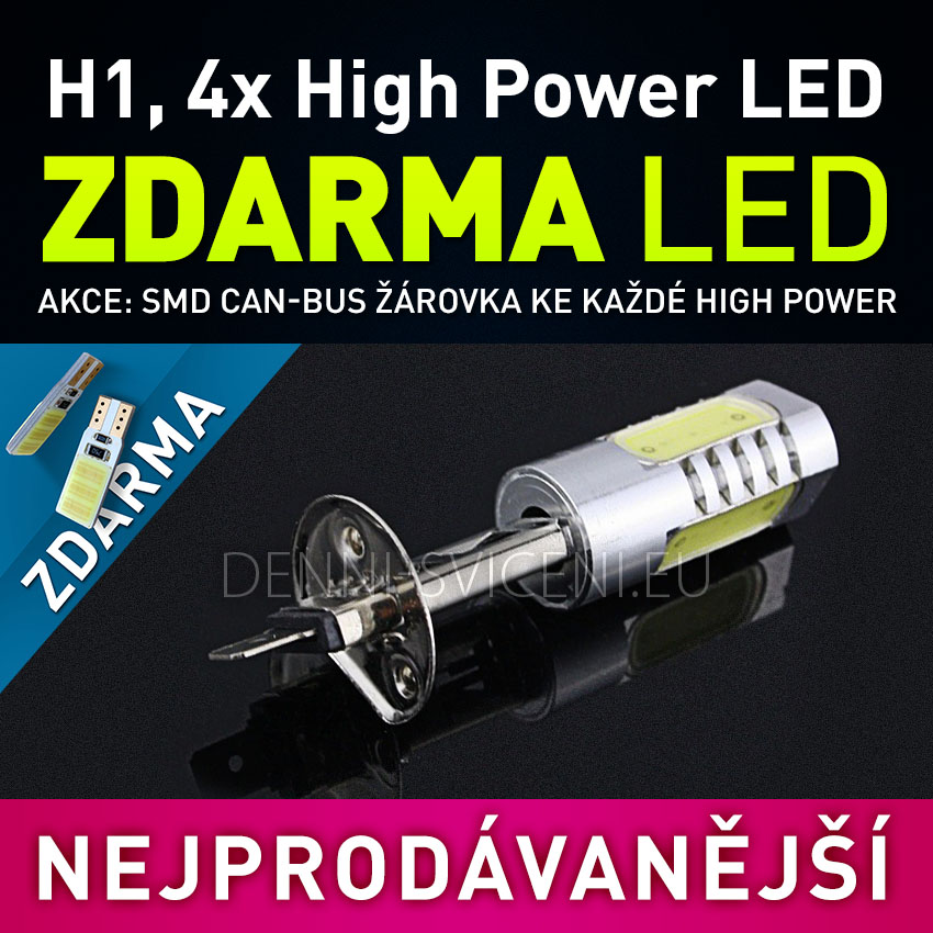 AKCE - Žárovka LED 12V s paticí H1, 4x High Power LED, 1ks