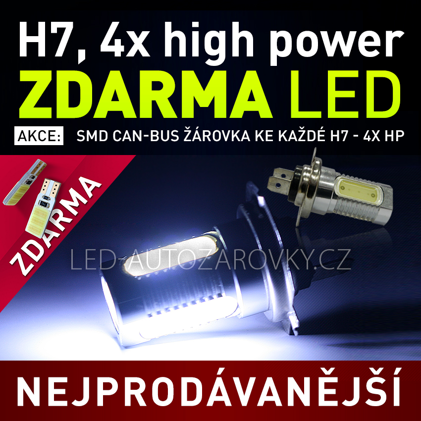 AKCE - Žárovka LED 12V s paticí H7, 4x High Power LED, 1ks