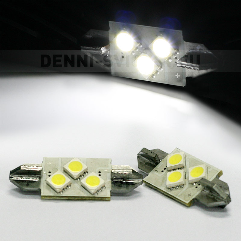 Sufitka bílá CAN-BUS - Super Light, 3x SMD LED TRIANGLE, 36mm, 1ks