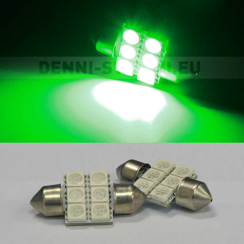 ZELENÁ sufitka - Super Light, 6 SMD LED, 31mm