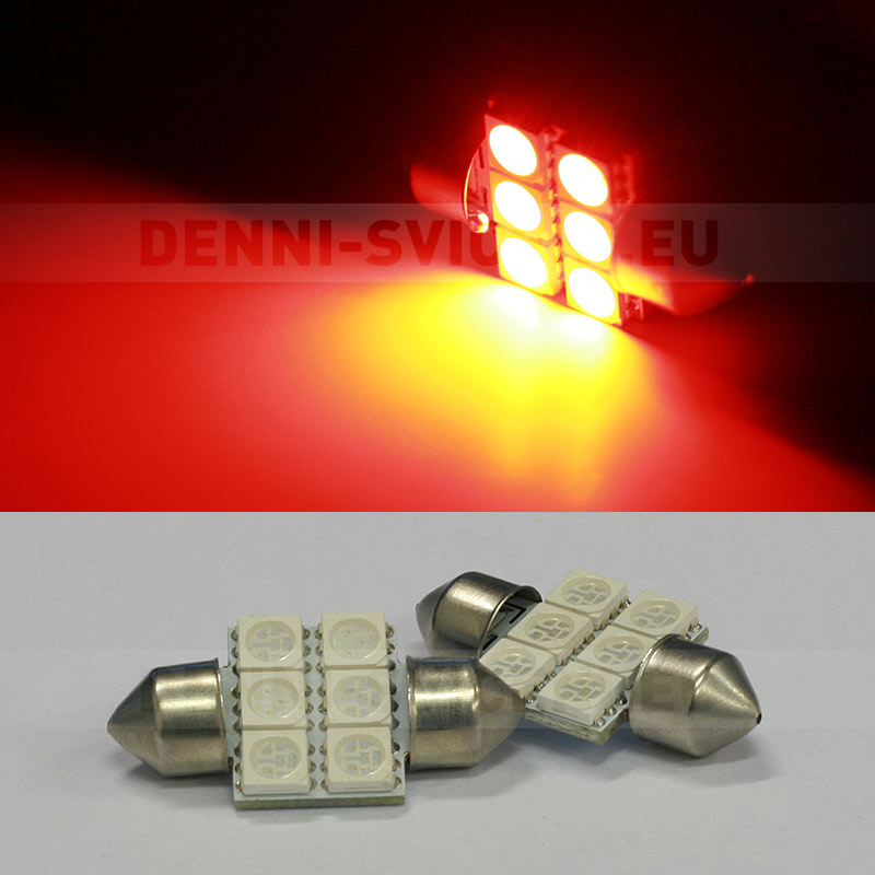 ČERVENÁ sufitka - Super Light, 6 SMD LED, 31mm