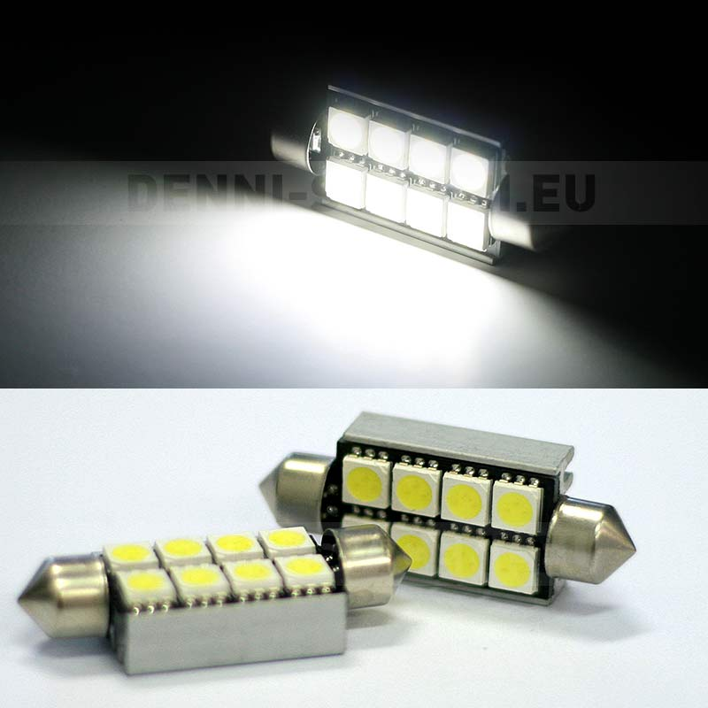 BÍLÁ CAN-BUS sufitka - Super Light, 8 SMD LED, 39mm, 1ks