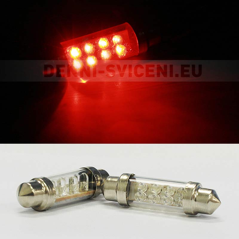 ČERVENÁ sufitka, 8 LED, 39mm, 1ks