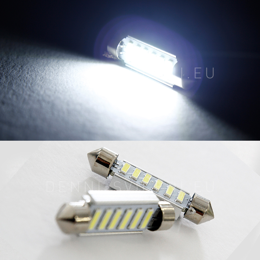 BÍLÁ CAN-BUS sufitka - Super Light, 6 SMD LED, 43mm, 1ks