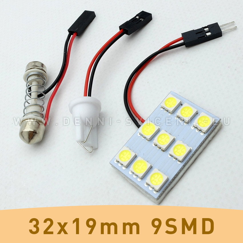 SMD LED panel 32x19mm 9smd s adaptérem pro sufitku 31 - 44mm a T10