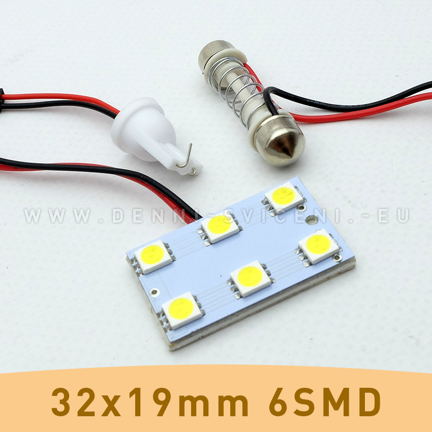 SMD LED panel 32x19mm 6smd s adaptérem pro sufitku 31 - 44mm a T10